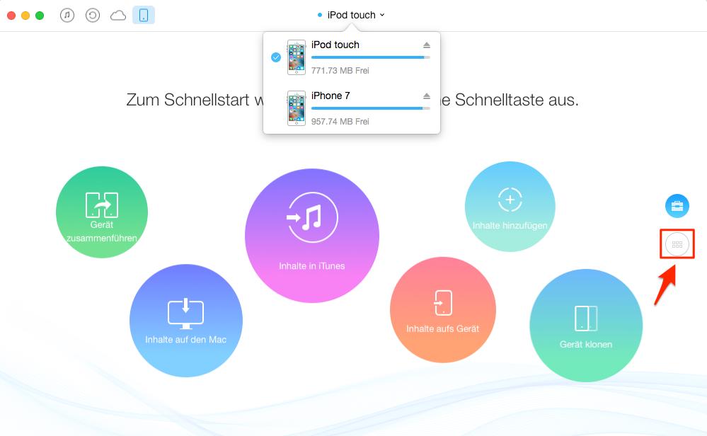 Musik vom iPod auf iPhone kopieren – Schritt 2