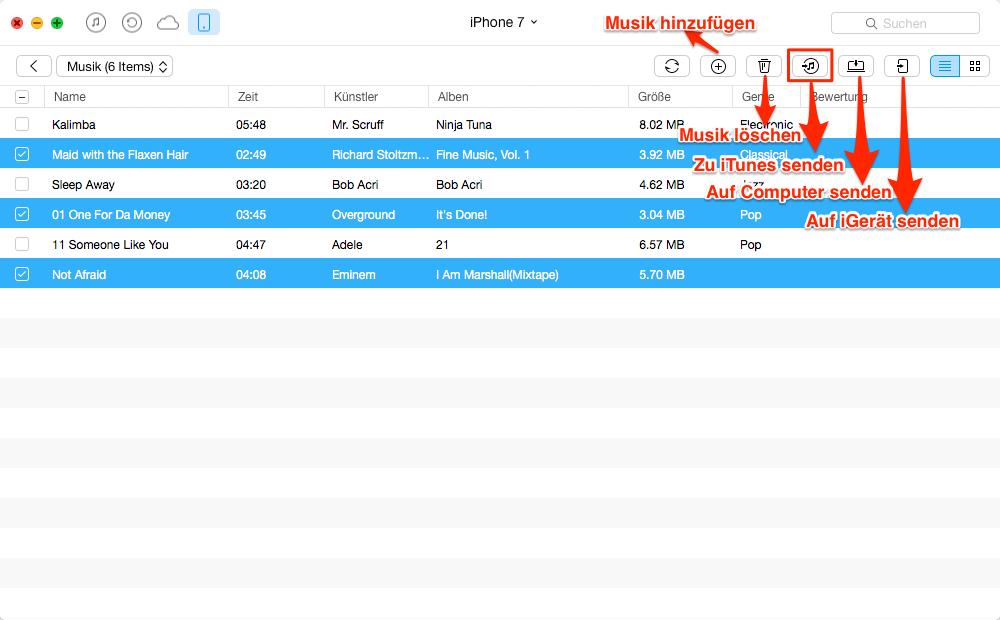 Musik vom iPhone in iTunes übertragen – Schritt 4