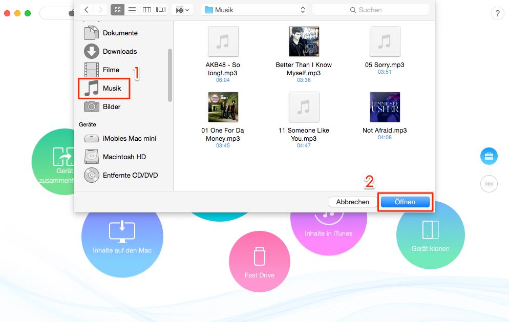 Ohne iTunes – Musik vom Mac auf iPhone 6/6s/7/8 – Schritt 2