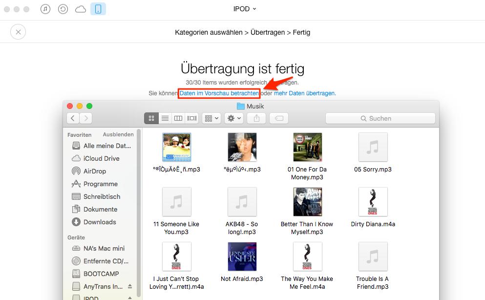 Musik vom iPod auf Mac übertragen