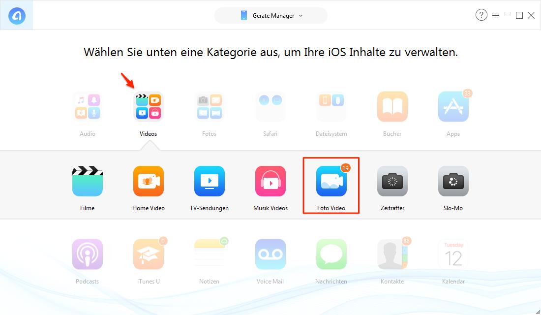 Kopieren Sie Video vom iPad auf PC – Schritt 2