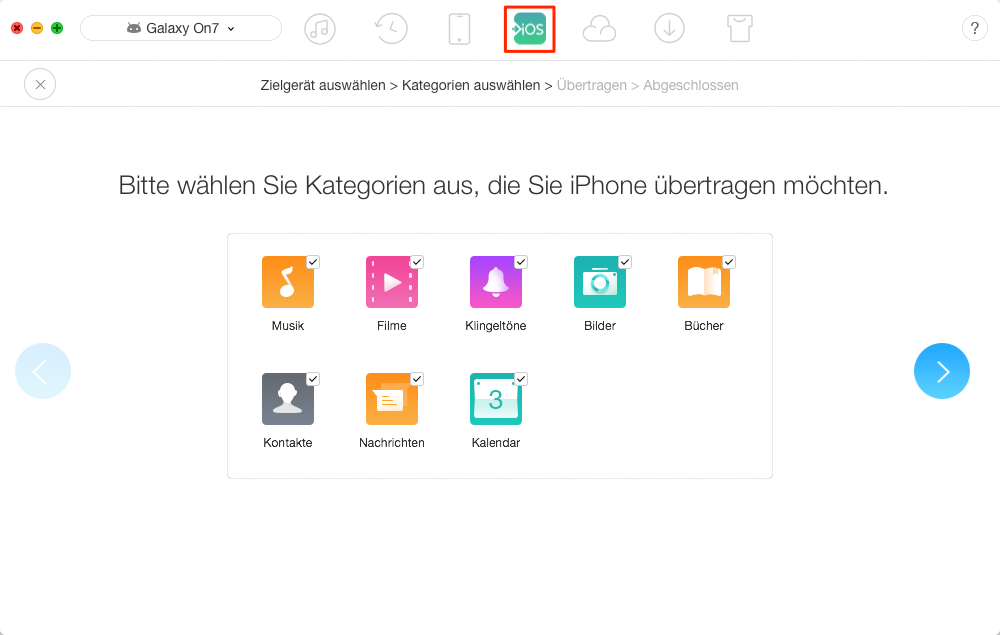 Daten vom Android-Gerät auf neues iPhone