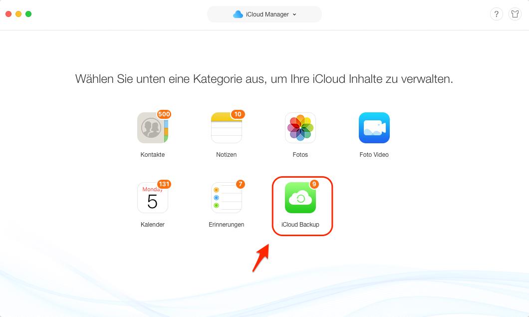 iCloud Backup auf iPhone laden - iCloud Backup auswählen