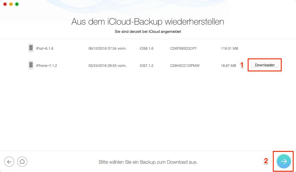 iOS-Gerät wählen und iCloud-Backup herunterladen – Schritt 3