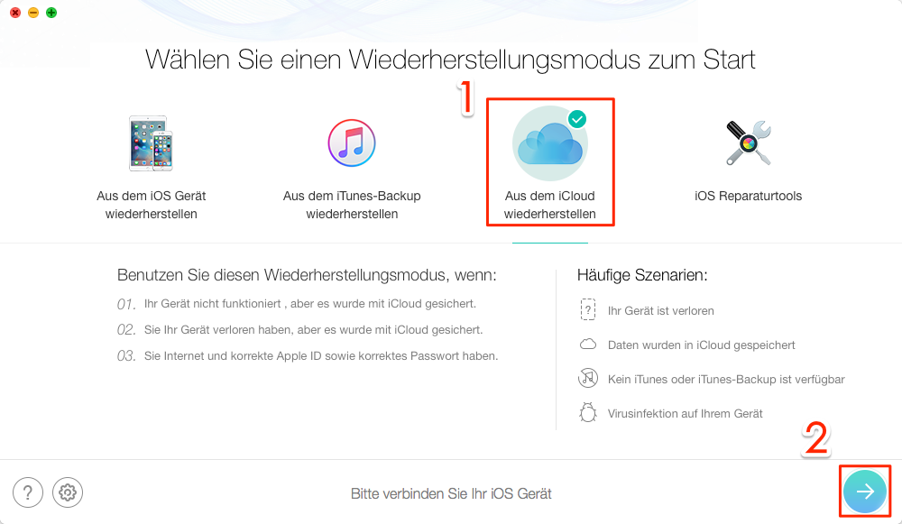 iCloud Backups über PhoneRescue zugreifen - Schritt 1