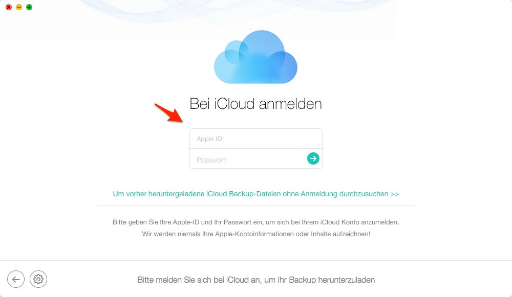 iCloud Account einloggen - Schritt 2