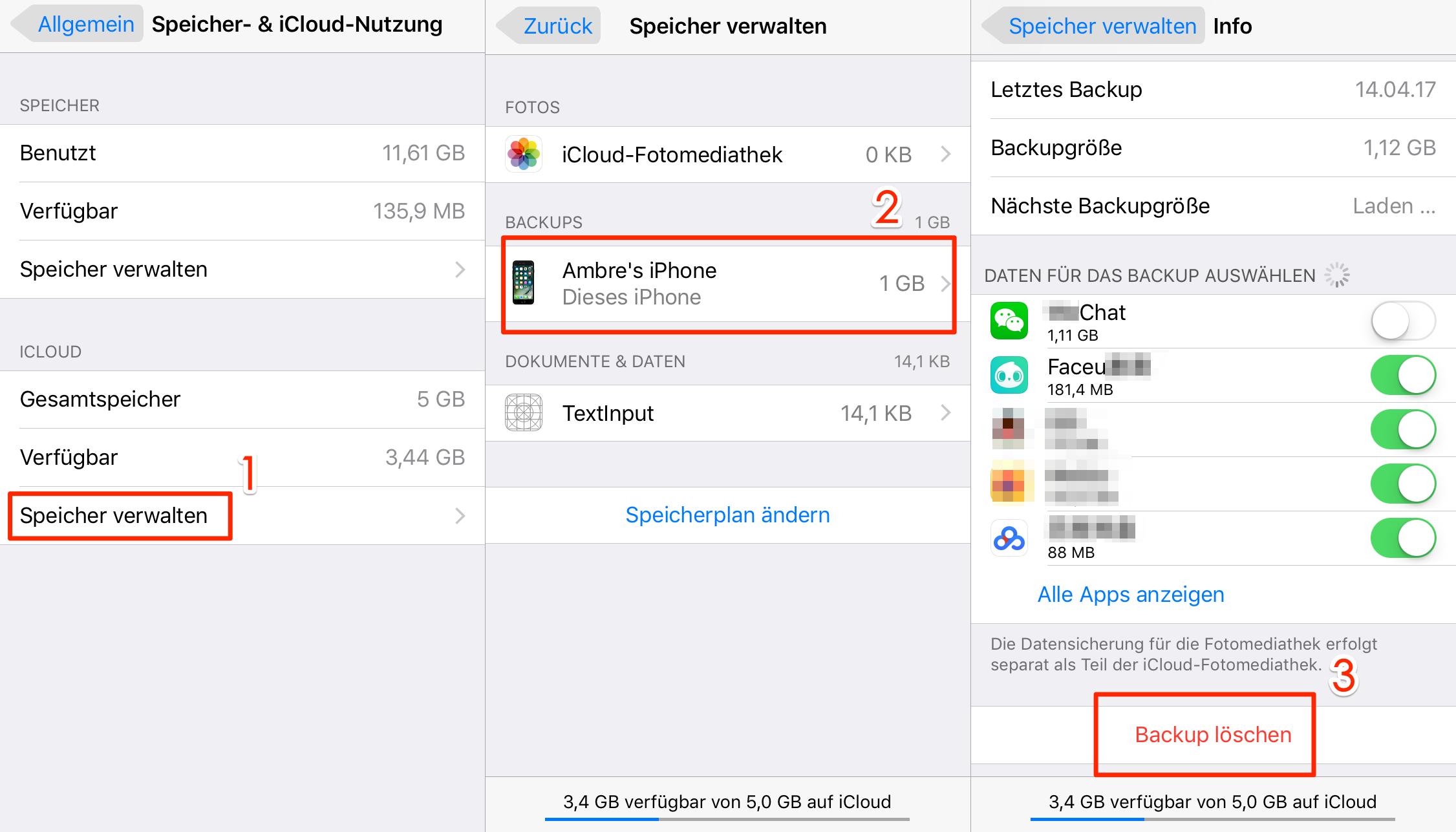 iCloud Backup auf iOS-Gerät löschen
