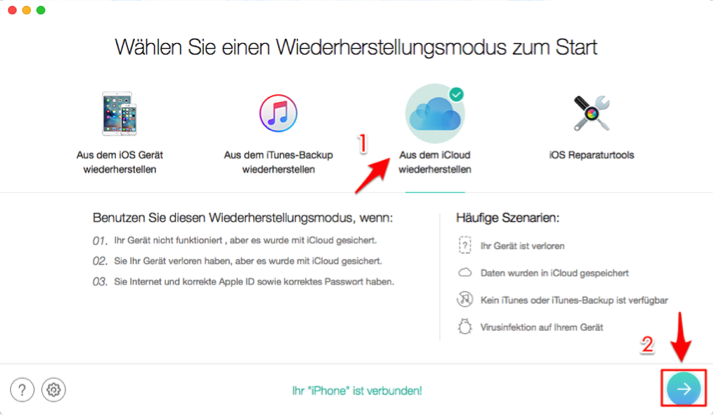 iCloud Backup wiederherstellen funktioniert nicht – Schritt 1