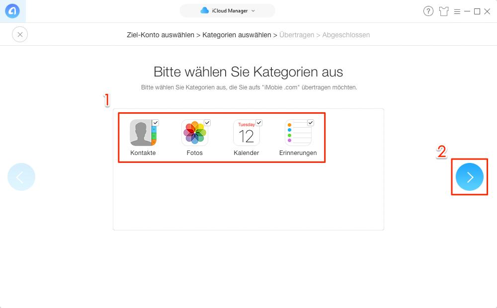 iCloud Daten auf anderen Account übertragen – Schritt 6