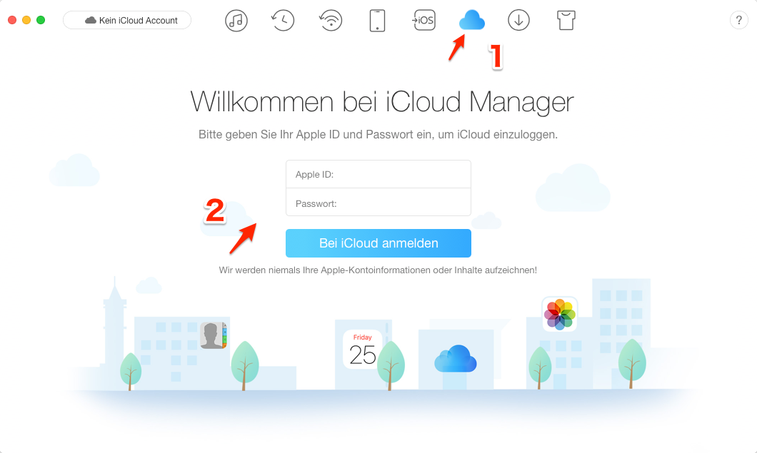 iCloud Daten und Dokumente löschen - Schritt 1