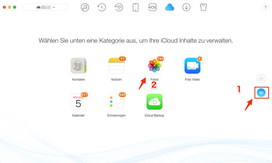 iCloud Inhalte und Dokumente löschen - Schritt 2