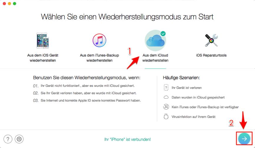 iCloud Daten abrufen – PhoneRescue verwenden