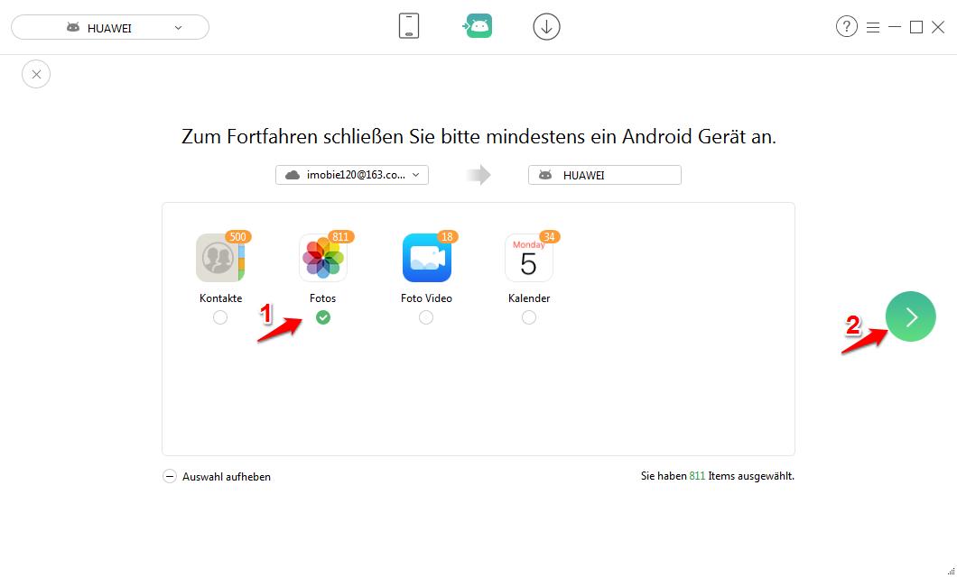 iCloud Fotos auf Android übertragen – Schritt 4