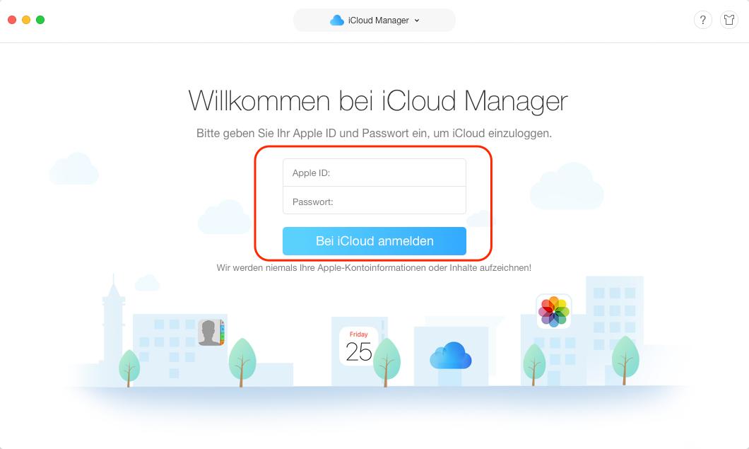iCloud Fotos auf Festplatte speichern - sich bei iCloud anmelden