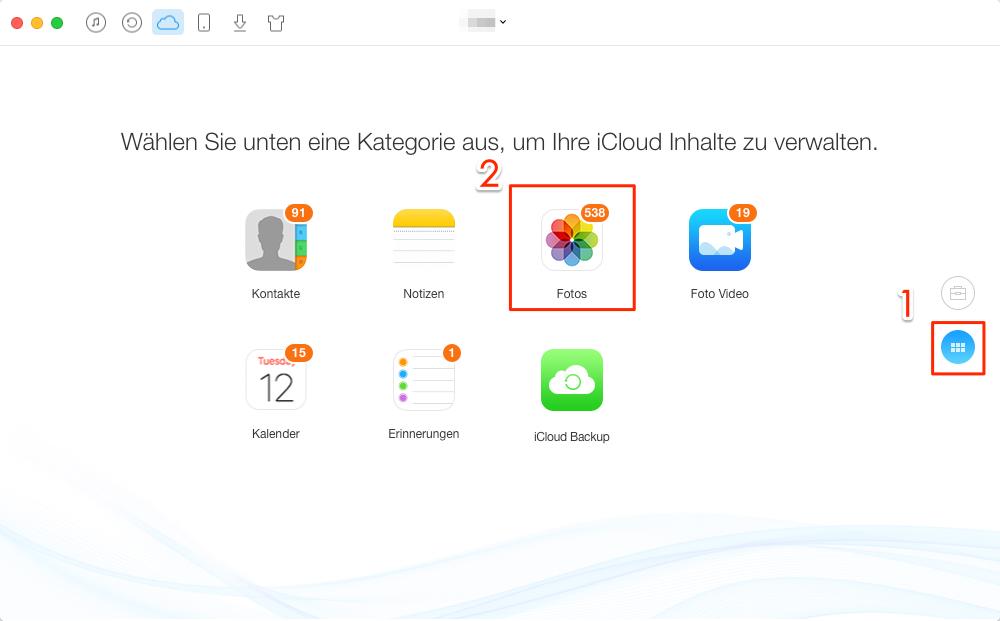 Fotos in iCloud auswählen - Schritt 2