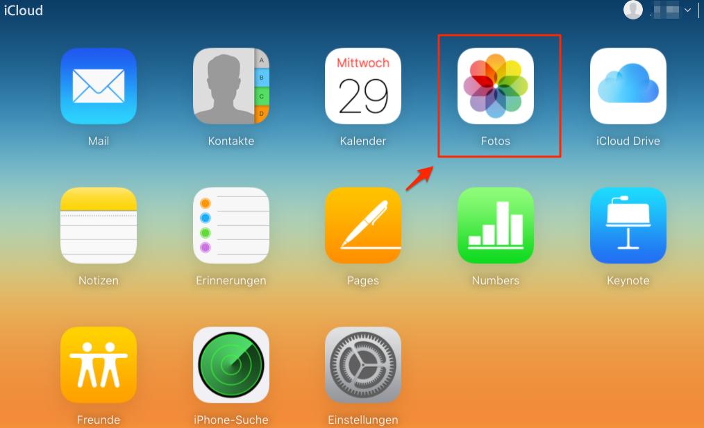 iCloud-Account einloggen und Fotos auswählen – Schritt 1