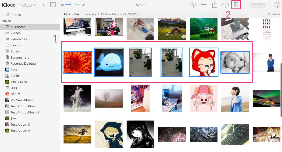 iCloud Fotos löschen – Schritt