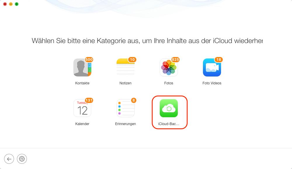 iCloud Fotos zurück auf iPhone - iCloud Backup auswählen