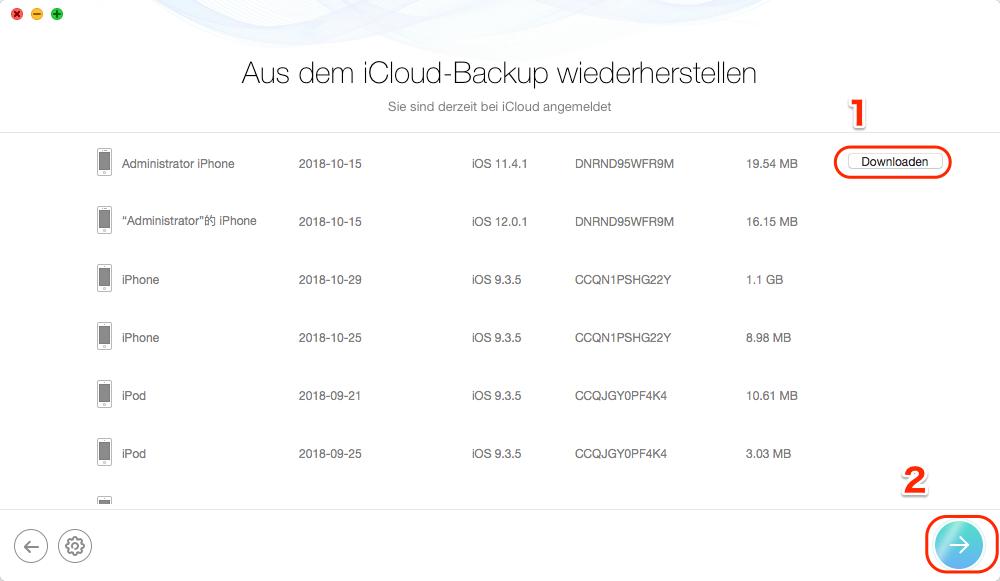 iCloud Fotos zurück auf iPhone bekommen - Backup herunterladen