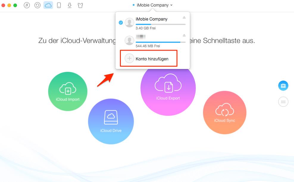 anderen iCloud-Konto hinzufügen – Schritt 2
