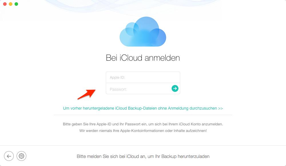 Apple-ID mit auf PhoneRescue einloggen - Schritt 2