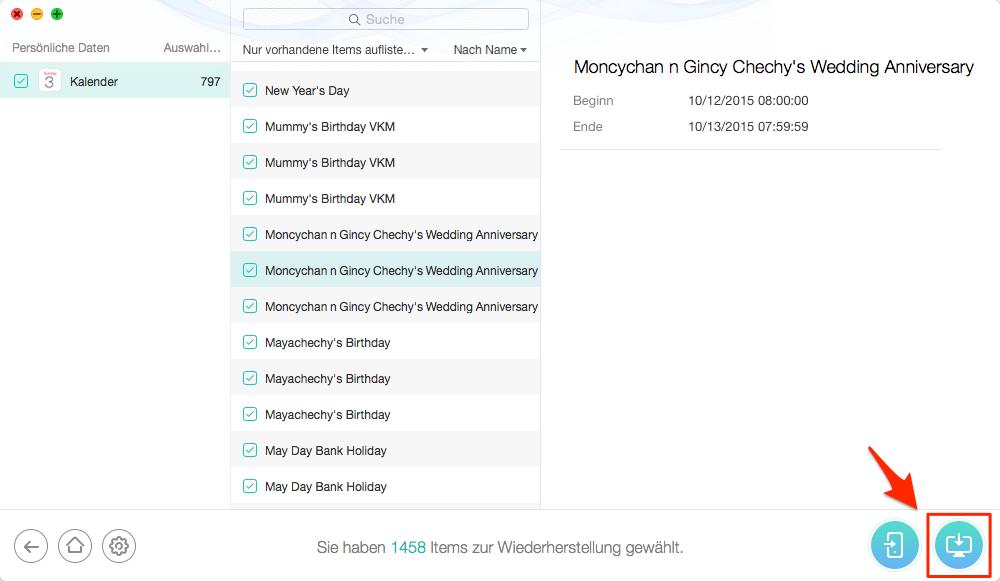 Sicher! iCloud Kalender auf PC wiederherstellen – Schritt 4