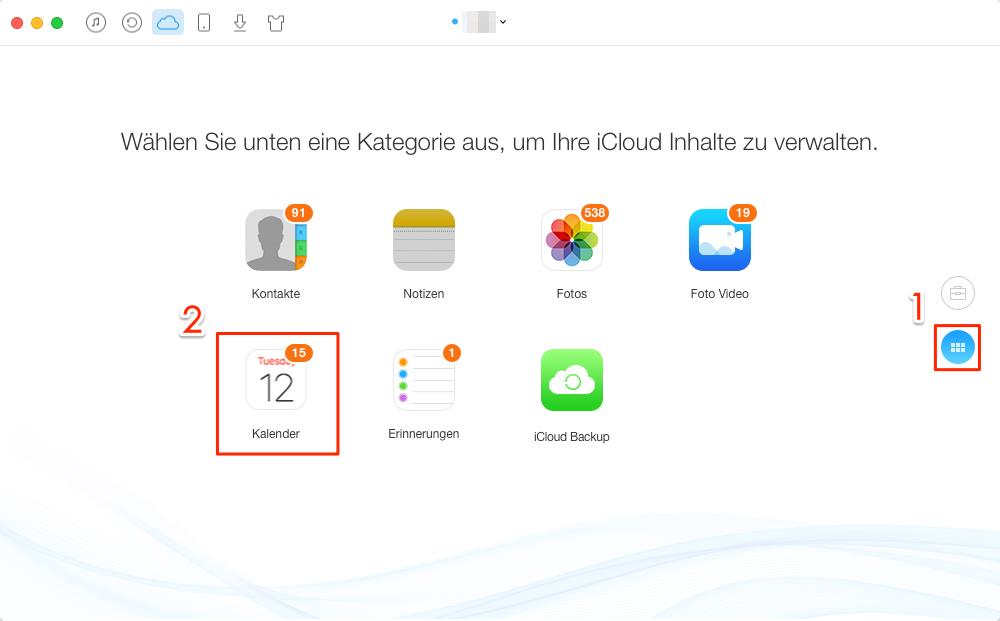 Kalender aus iCloud auswählen – Schritt 2