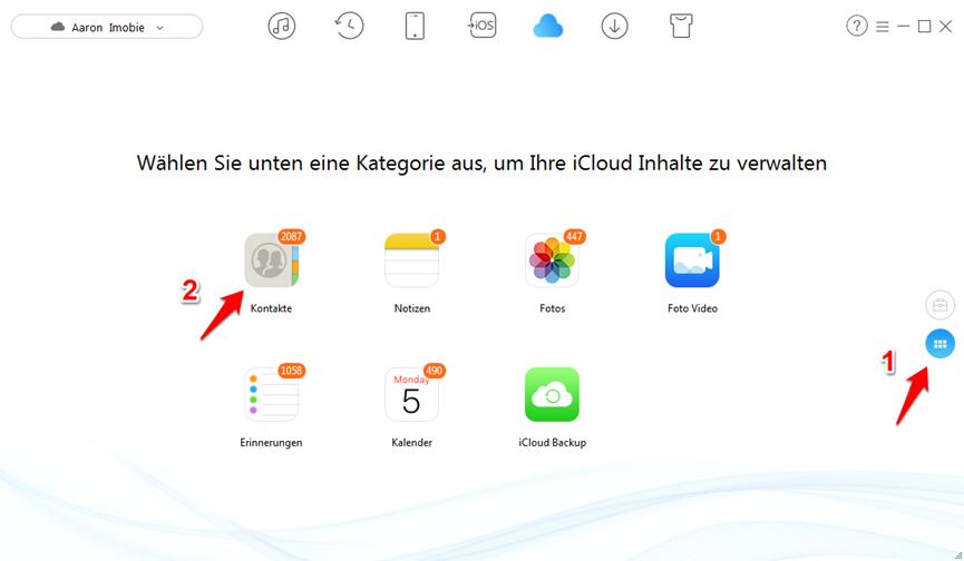 iCloud Kontakte ansehen – Kontakte auswählen