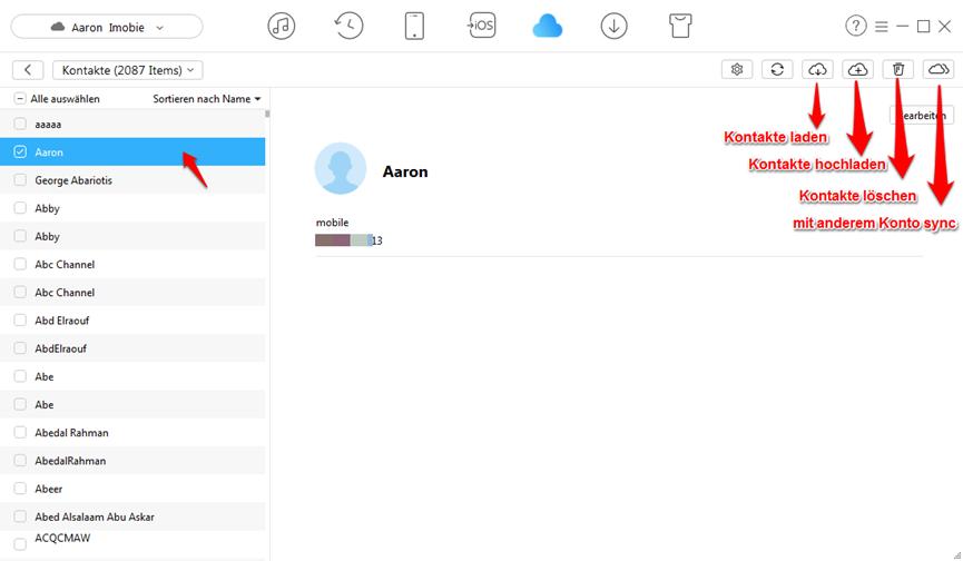 iCloud Kontakte direkt anzeigen - fertig