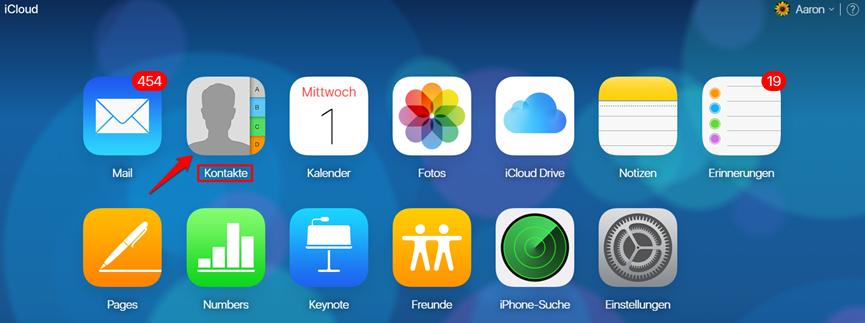 Kontakte in iCloud ansehen - auf der iCloud.com