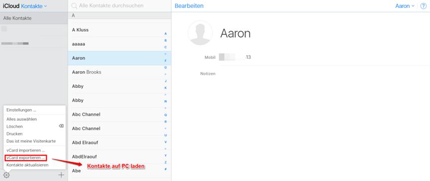 Kontakte iCloud ansehen – Kontakte verwalten