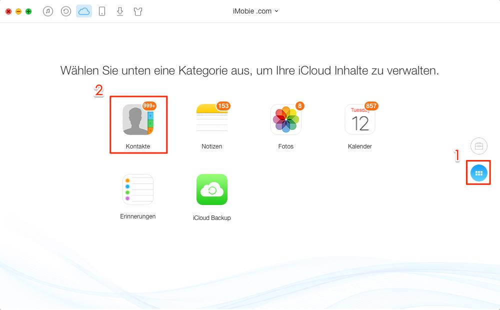 Kontakte in iCloud auswählen - Schritt 3