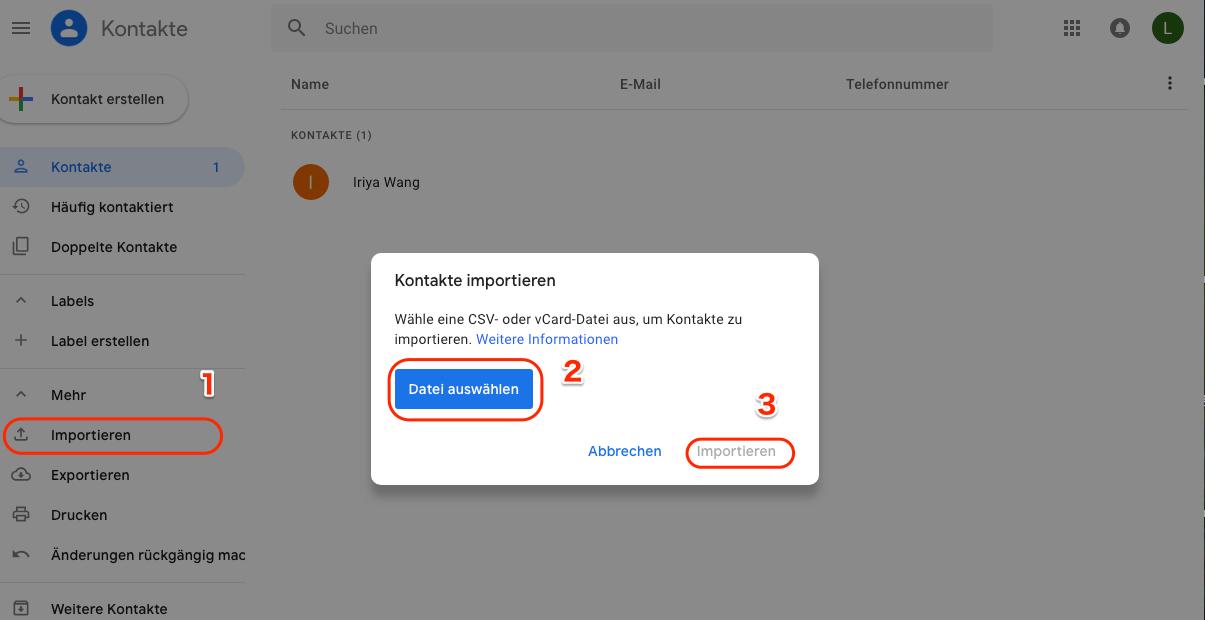 iCloud Kontakte auf Android - über gmail