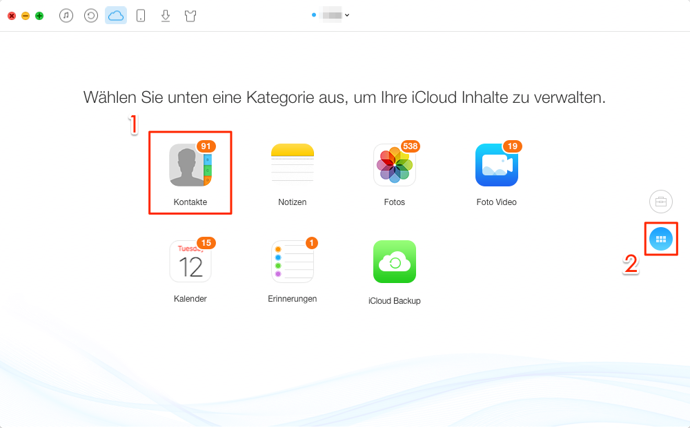 Kontakte in iCloud auswählen - Schritt 2