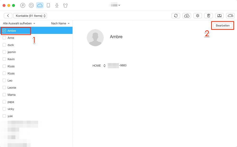 iCloud Kontakte bearbeiten - Schritt 3