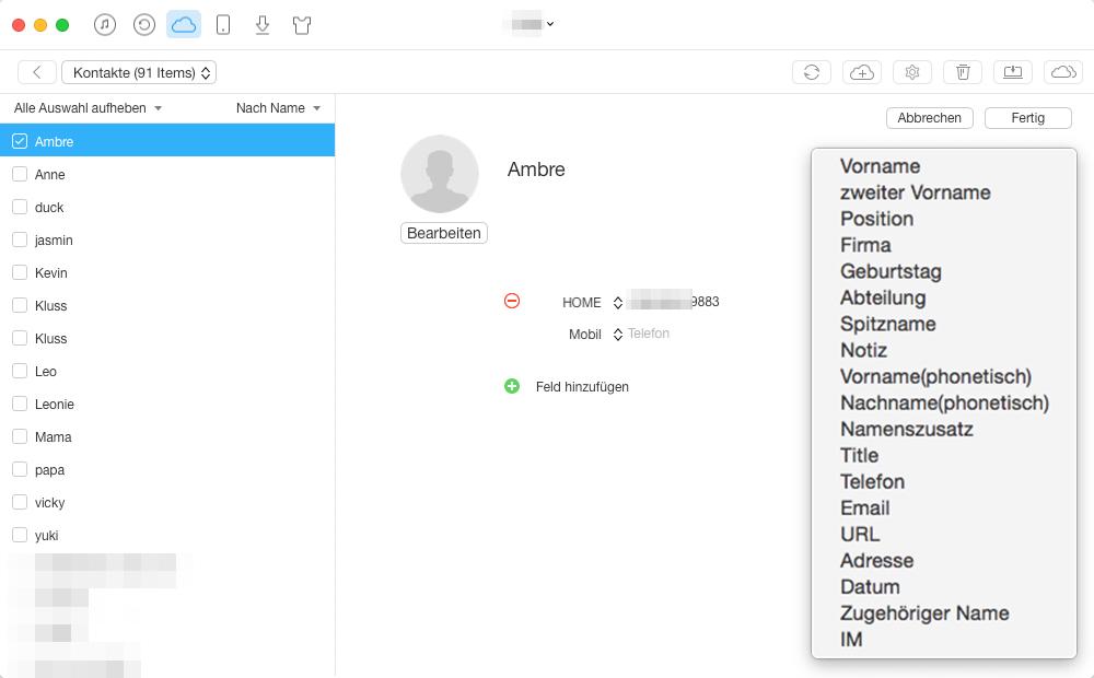 Kontakte in iCloud auswählen - Schritt 4