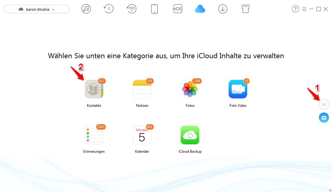 iCloud Kontakte in Outlook übertragen - Schritt 2