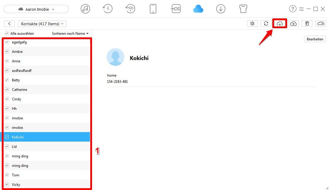 Kontakte vom iCloud auf Outlook übertragen - Schritt 4