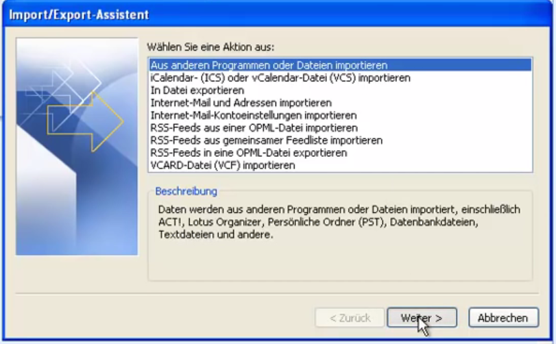 Kontakte nach Outlook importieren