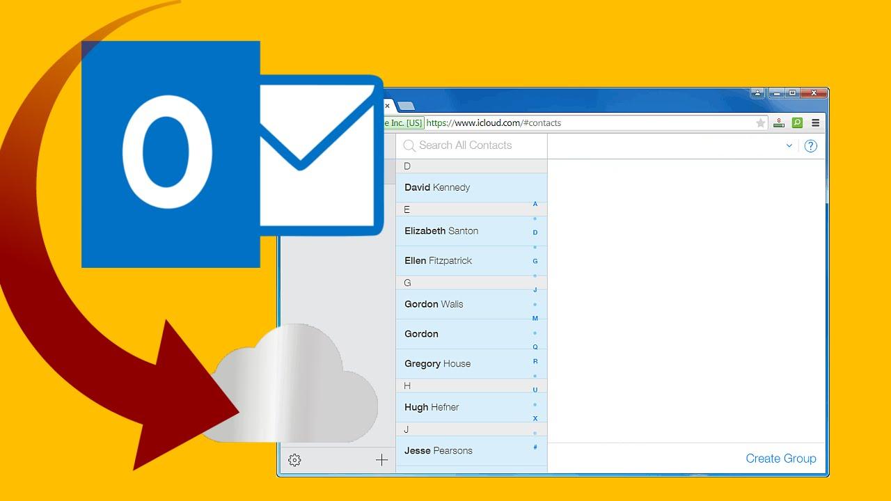 Kontakte in Outlook hochladen