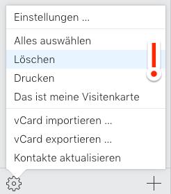 iCloud.com – iCloud Kontakte löschen