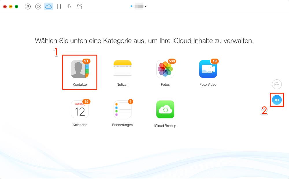 """Die Option """"Kontakte"""" in iCloud auswählen - Schritt 2"""
