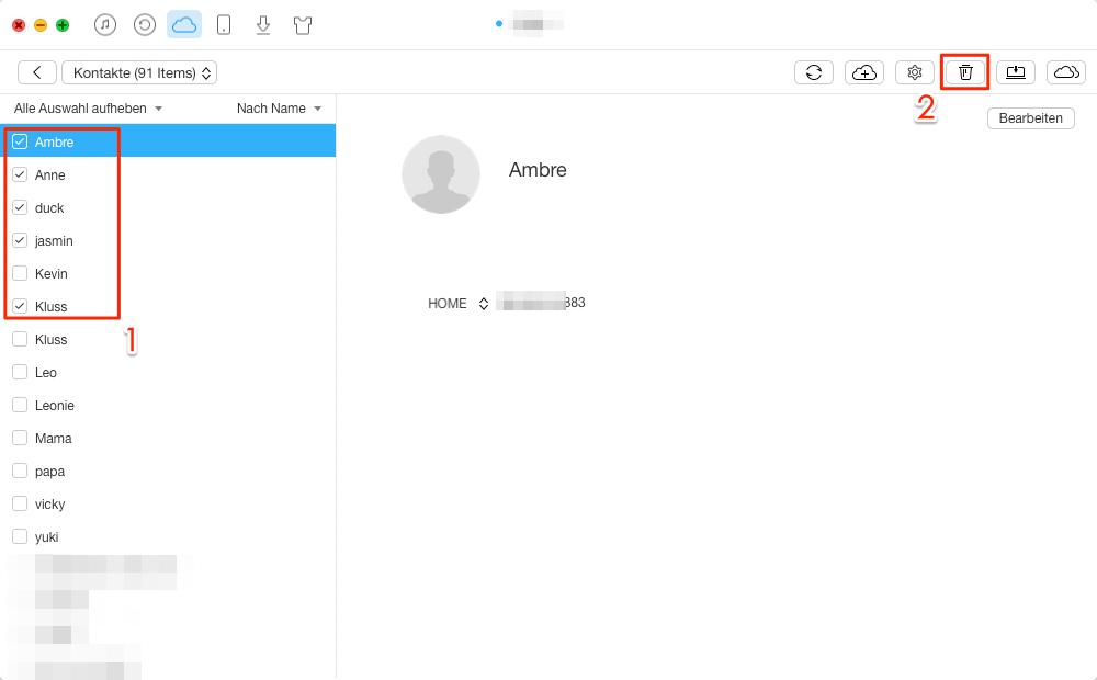 1 Klick: Alle/mehrere iCloud Kontakte löschen - Schritt 3