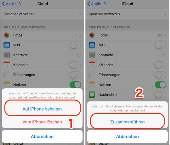 iPhone Kontakte wiederherstellen über iCloud
