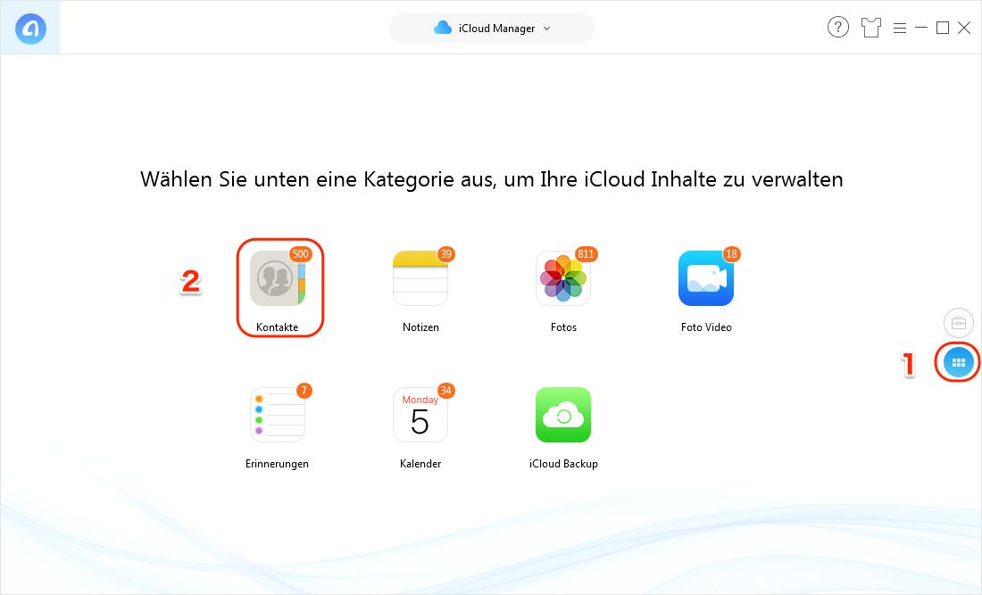 iCloud gelöschte Kontakte wiederherstellen - Schritt 3