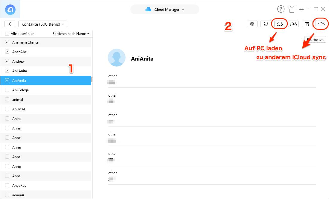 iCloud Kontakte erfolgreich wiederherstellen - Schritt 4