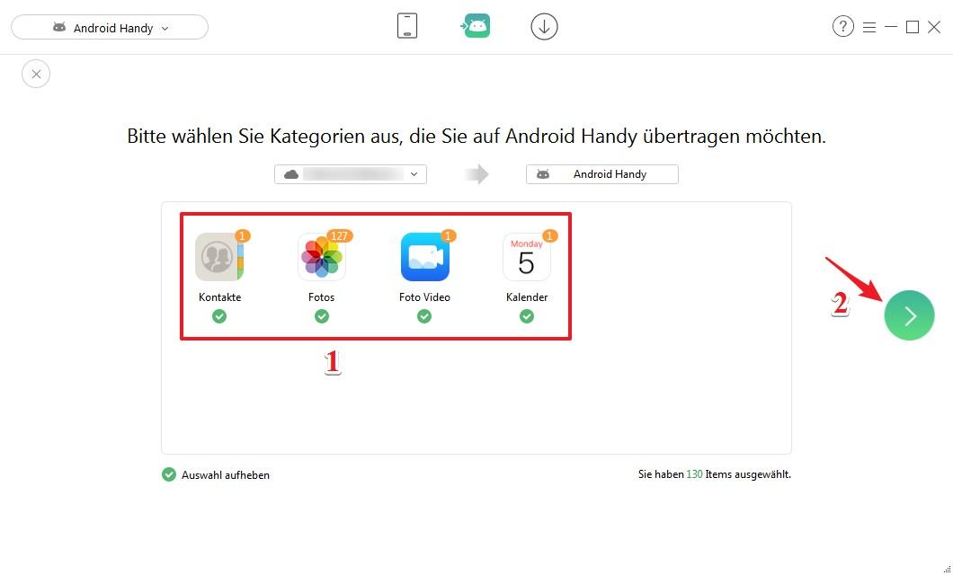 Daten von iCloud auf Android synchronisieren