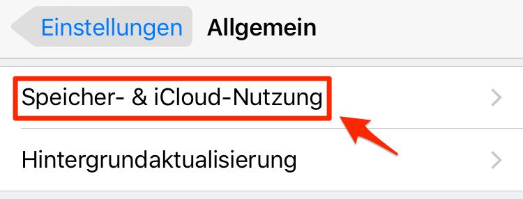 iCloud Speicher kündigen – Schritt 1