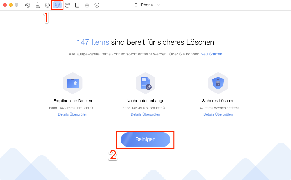 PhoneClean starten und Privacy Clean wählen – Schritt 1