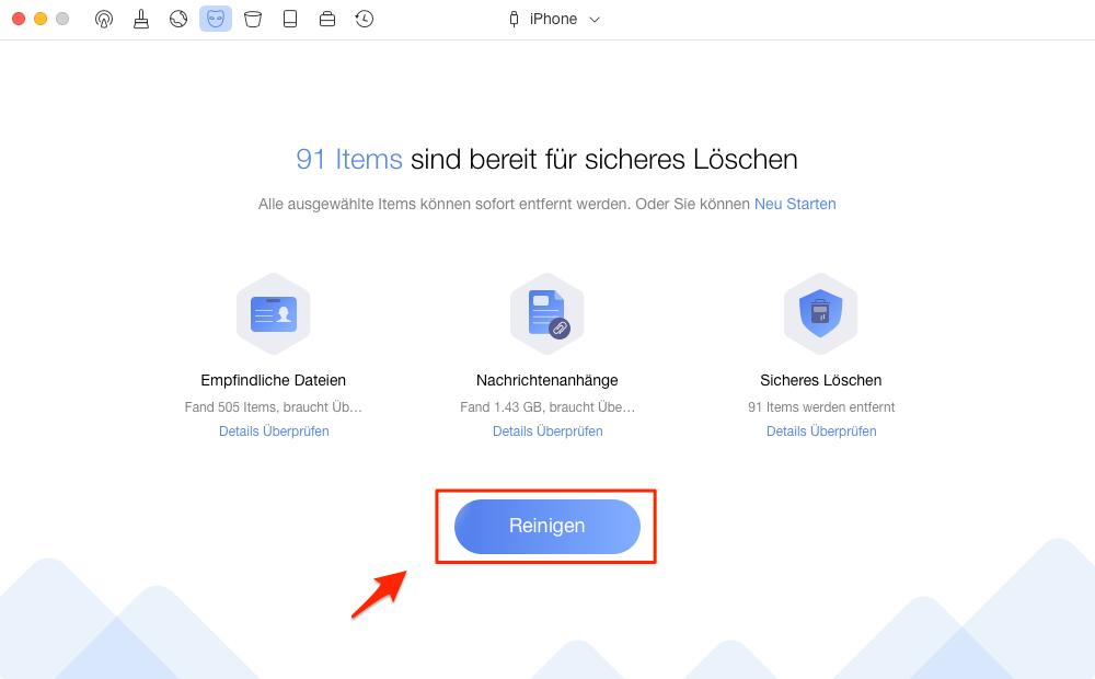 Anhänge von iMessage auf dem iPhone löschen – Schritt 2